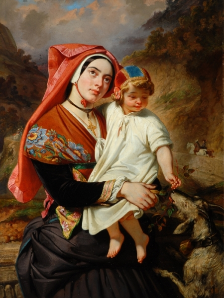 eugene-francois-maire-joseph-deveria-1805-1865-young-woman-of-the-valley-of-ossau-with-her-child-the-bowes-museum