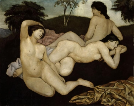 Bernard Emile 1868-1941, Après le bain, trois nymphes, palais des Beaux-arts.Lille