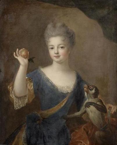 pierre gobert, Princesse inconnue présentant une pomme à un singe, châteaux de versailles et trianon.