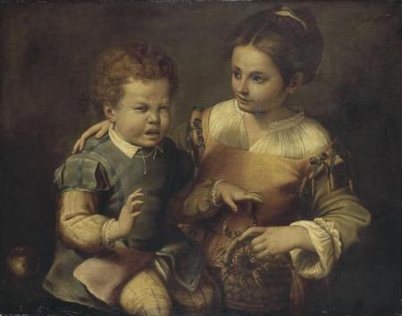 Sofonisba Anguisciola 1530-40-1625 Petit Garçon pincé par une écrevisse et petite fille riant
